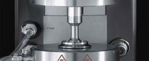 Close up of rheometer geometry