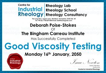 Viscosity Testing Training Certificate