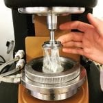 Melted cheese on rheometer