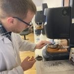 Our technical manager Josh Marsh measuring a sample on our rheometer.